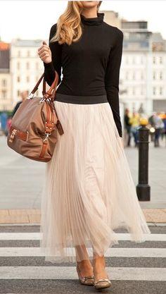 Flowing skirt dressed down.