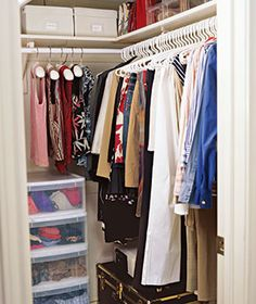 Gain Extra Space In Small Closets By Using Slim Hangers And Stackable Bins  With Pull Out Drawers.