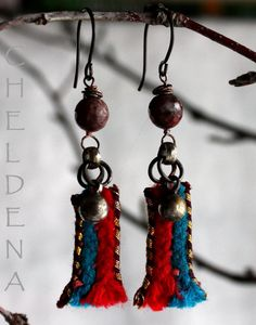 Crazy Agate Earrings with Vintage Findings and Fiber  by cheldena, $18.00