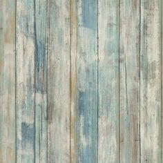 RoomMates Peel and Stick - Blue Distressed Wood - XL Muursticker