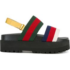 Gucci Web platform sandals (€500) ❤ liked on Polyvore featuring shoes, sandals, red, leather sandals, platform sandals, red platform shoes, colorful sandals and leather ankle strap sandals