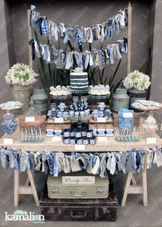 Baby shower decorations for boys, baby shower themes, baby boy shower, candy table Denim Baby Shower, Baby Shower Vintage, Baby Shower Fun, Baby Shower Parties, Baby Shower Themes, Shower Ideas, Bonbons Vintage, Vintage Cupcake, Shower Bebe