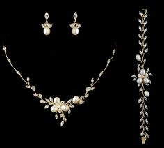 Just gorgeous in gold!  Freshwater Pearl and CZ Gold Wedding Jewelry Set with Bracelet- sale! - Affordable Elegance Bridal -