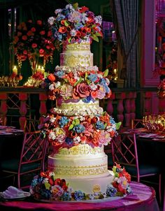 Beautiful Cake Pictures: Colorful Garden of Flowers and Hand Painted Cake - Colorful Cakes, Flower Cake, Wedding Cakes - Elegant Wedding Cakes, Beautiful Wedding Cakes, Gorgeous Cakes, Pretty Cakes, Amazing Cakes, Cake Wedding, Beautiful Cake Pictures, Hand Painted Cakes, Gateaux Cake