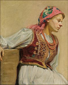 "Adam Międzybłocki (Polish, ""Krakowianka"" ('Girl from Kraków'), Sketch Painting, Figure Painting, European Tribes, European Costumes, Polish Folk Art, Coral Art, Shock And Awe, Figure Sketching, Portraits"