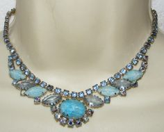 Vintage shades of blue Rhinestone NECKLACE molded art glass costume jewelry | eBay SOLD