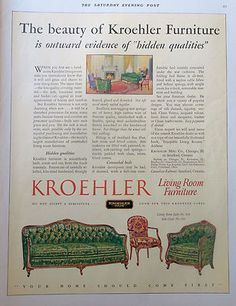 A wonderful green and pink rose fabric on this Kroehler sofa and arm chair. Vintage advertisement from 1927 for Kroehler. Baby Items, Coupons, Arm, Sofa, Living Room, Chair, Green, Fabric, Pink