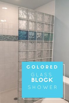 This vacation home combined a colored and durable glass block shower wall with a stone solid surface base - fun and inventive!