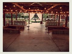 Faulkner's Ranch: A Rustic Fall Wedding - pavilion with lights