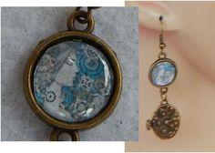 Gold Steampunk Woman Charm Drop/Dangle Earrings Handmade Jewelry Hook Fashion #Handmade #DropDangle http://www.ebay.com/itm/151620839548?ssPageName=STRK:MESELX:IT&_trksid=p3984.m1555.l2649