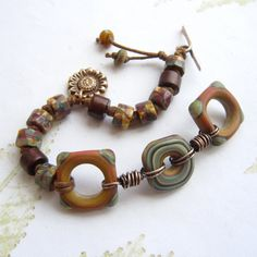 Beaded bracelet Lampwork bead bracelet bronze  by THEAjewellery