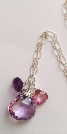 Purple pleasures! Faceted Amethyst Pink Mystic Quartz Sterling by Bellebijouatelier, $35.00