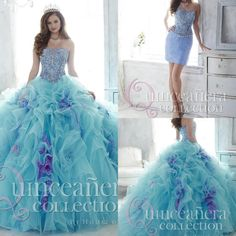 Cheap Floral azul Quinceanera vestidos vestidos de 15 años con desmontable tren vestido de bola con cuentas gorgeous prom Dresses 2016, Compro Calidad Vestidos de Quinceañera directamente de los surtidores de China:             Usted puede tener gusto                     &nbs
