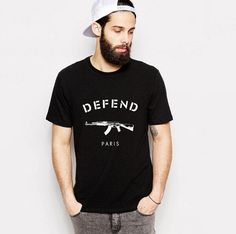 Defend Paris AK47  Style: Fashion  Sleeve Length: Short  Collar: O-Neck  Material: Cotton  Sleeve Style: normal  Hooded: No  Pattern Type: Letter  Fabric Type: Knitted  Item Type: Tops  Tops Type: Tees  Gender: Men Fashion    Size: Regular U.S size; S, M, L, XL, XXL, XXXL.