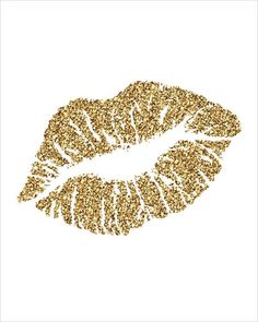 Gold Glitter Kiss Lips Printable INSTANT DOWNLOAD by CraftMei