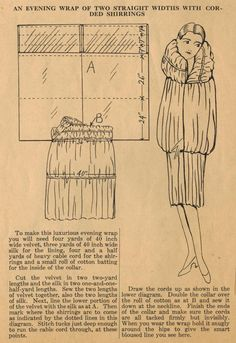 Retro Sewing The Midvale Cottage Post: Home Sewing Tips from the - An Easy Evening Wrap with Corded Shirring Sewing Hacks, Sewing Tutorials, Sewing Tips, Free Sewing, Pattern Cutting, Pattern Making, Wrap Pattern, Jacket Pattern, Diy Couture Mode
