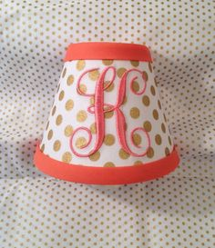 Spot On Gold Metallic Polka Dots Monogrammed Night Light  (other colors available for monogram and trim)