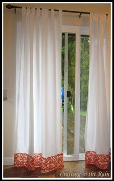 Easy Curtain Fix - adding a swath of fabric at the bottom for color pop, or for added length (or both)