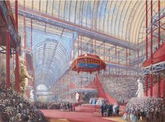 Joseph Nash. (British, 1808-1878). The opening of the Crystal Palace by Queen Victoria, 10th June 1854.