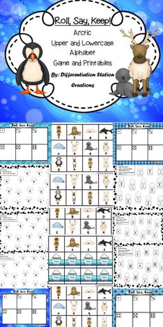 "Arctic Animals: ""Roll, Say, Keep!"".  Alphabet Center, Game, and Printables. Upper and lowercase letters.  Preschool, kindergarten, special education, homeschool. $"