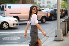 i like the wrap effect on this pencil skirt - my 2 favorite skirts styles.