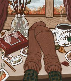 Aesthetic Art, Aesthetic Anime, Autumn Illustration, Autumn Art, Autumn Love, Fall, Cartoon Art, Cute Drawings, Cute Art