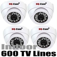 "HQ-Cam® 4x Security Surveillance Camera - 600TV Color Lines High Resolution 1/3"" Color Image Processor Built-in 3.6mm Lens Day Night CCTV Home Video Security Camera indoor by Q1C1. $140.99. Product Type:Color Camera Image Sensor:1/3"" Color Image Processor Effective Pixels:768(H) x 494(V) Horizontal Resolution:600 TV Lines Minimum Illumination:0 Lux, 26 IR LED Lens:Built-in 3.6mm Lens S/N Ratio:More than 48 dB Signal System:NTSC Video Output:1.0V[p-p], 75W/BNC Shutter Spe..."