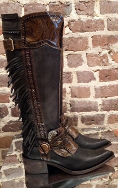 f18dc0eac3 Details about Donald j pliner boots gitta khaki waxy suede tall fringe  western boot new in box