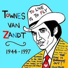 Townes van Zandt Pop Folk Art