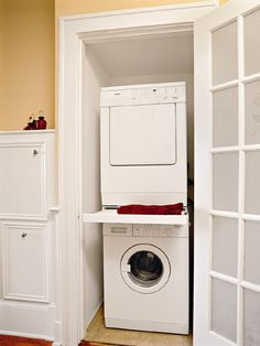 "Outstanding ""laundry room stackable washer and dryer"" info is readily available on our site. Have a look and you wont be sorry you did. Hidden Laundry Rooms, Laundry Closet, Laundry Room Storage, Laundry Room Design, Closet Storage, Closet Organization, Storage Spaces, Storage Ideas, Organizing"