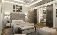 Modern Classic Master Bedroom Design With Creative DIY Tufted Headboard Also New Minimalist Bench And Luxury Birght Lights Besides Artistic Elegant Frames  Glamorous Walls Accents Ideas