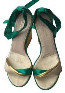 Sergio Rossi Wedges Silk Green and gold Platforms ~ SO WISH they were my size!!!