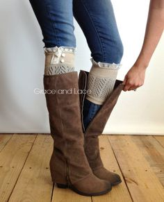Dainty Lace Boot Cuffs 3 colors- TAN knit boot topper lace trim & buttons - faux legwarmers - lace cuff - leg warmers (C10-19)