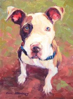 """Roman"" Original Oil Dog Painting Pet Portrait Pit Bull Mix Cute Puppy $100 © Kim Stenberg"