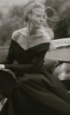 Timeless black and white with windswept hair.