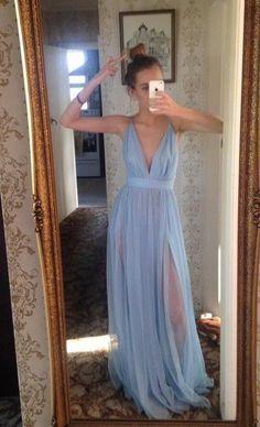 Low cut prom dress,Popular Baby Blue Prom Dress,Sexy Straps Evening Dress,Chiffon Party Dress,Deep V-Neck Prom Dress
