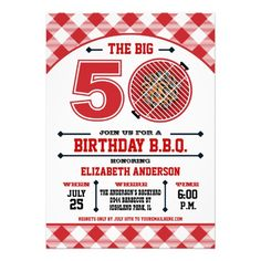 50th Birthday Barbecue Invitation — The Big 50 Birthday Barbecue Invitation with a red hot grill and gingham tablecloth pattern. Customize with your own text. Original Illustration by pj_design.