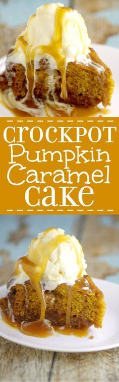 Rich, moist spiced pumpkin cake and gooey sweet caramel come together in this Crockpot Pumpkin Caramel Cake recipe to make a decadent and festive slow cooker Fall dessert recipe! Pumpkin spice and caramel in the Crockpot?! Can\'t go wrong there!