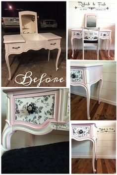 Drexel vanity painted in Posh Pink & French Vanilla. Done by Rehab to Fab. Eco Furniture, Glass Furniture, Refurbished Furniture, Repurposed Furniture, Furniture Making, Painted Furniture, Modern Vanity Table, French Provincial Furniture, Painted Vanity