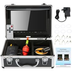 (160.69$)  Watch here  - KKmoon?� HD Underwater Fish Finder Kit with 9 LCD Monitor + 30M 1200TVL Camera + 4000mah Battery Box + Removable Sun-shield + Portable Alloy Case + Remote Control support Waterproof Night View Battery Level Indication Adjustable LED Intensity Plug and Play for Ice/Sea/River Fishing