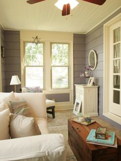Rustic Porch With White Dove And Grey Walls