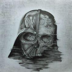 By Paul Jackson  #starwars #darthvader #lordvader #vader #sith #sithlord #thedarkside #thedarklord #theempire #deathstar #drawing #art #fanmade #fanart #skull