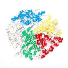 100pcs 5mm LED Light White Yellow Red Green Blue Assorted Kit DIY LEDs Set New #Unbranded
