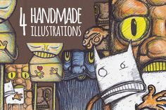 4 Handmade Illustrations by DesignSomething on Creative Market