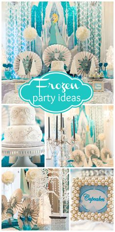 A sparkly Frozen girl birthday party with a gorgeous cake, dessert table and decorations! See more party planning ideas at CatchMyParty.com!