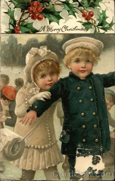Vintage Christmas postcard illustrated by Harriett Mary Bennett- English - late 1800's early 1900's.