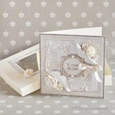 Wedding Card *Craft4You* - Scrapbook.com with folders, dies, and flowers that I have