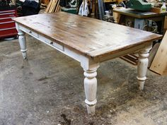 White scrubbed pine farmhouse table, I love the look of a sturdy farm table for both meals, and as work surfaces