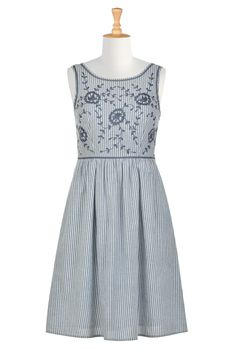 Floral Embellished Chambray Stripe Dresses, Cotton Chambray Stripe Sleeveless Dresses All Sizes Special Occasion Dresses - Women's Fashion Dresses - Missy, Plus, Petite, Tall, 1X, 2X, 3X, 4X, 5X, 6X - | eShakti