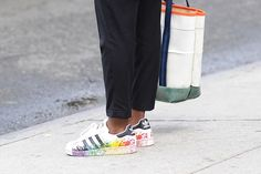 We're loving these multicoloured Adidas trainers spotted at NYFW